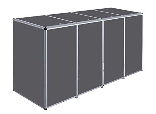 KIRCHBERGER METALL Aluminium Mülltonnenbox Rollobox, 240 Liter, 4er Box (Lorbeer)