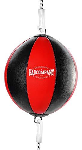 Bad Company Doppelendball aus Kunstleder inkl. elastischen Spanngurten I 25 cm Durchmesser I Boxball für das Reflex- und Boxtraining – Rot