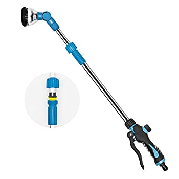 TWOZOZO Telescoping Garden Watering Wand 29.5-43.3 Inches 9 Modes Adjustable Garden Hose Wand High Pressure Garden Wand for Watering Seedling Beds Flowers Lawn Shrubs