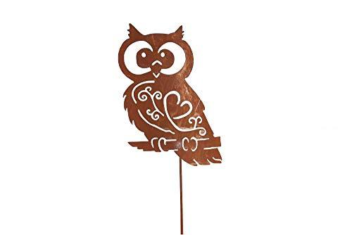 Unbekannt Eule auf Stab Rost Edelrost Metall Rostfigur Deko Dekoration Deko-Idee Dekoeule Dekotier Rostdeko Gartendeko Gartenstecker Geschenk-Idee Geschenk