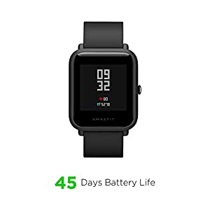 Amazfit Bip Lite by Huami with 45-Day Battery Life,24/7 Heart Rate 1.2 Inch Always-on Touchscreen 3 ATM, Black