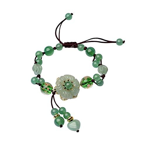 WHBGKJ Pulsera Retro Natural Verde Jade Dongling Flower Pulsera Ajustable Charm Joyería Moda Mano Hecha Punto Amuleto Regalos Mujeres Brazalete