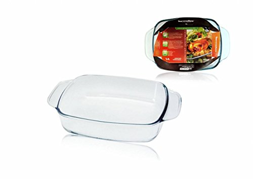 Casserole Dish with Handles Made of Borosilicate Glass 1.4 Litres Oven-Proof Lasagne Baking Tin 27 x 17 x 5.7 cm