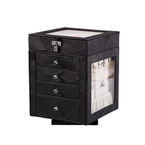 QIFFIY Caja de joyería roja 21 * 21 * 28 cm, Caja de Almacenamiento de joyería giratoria de Cuero de 360 Grados de Cuero con Llave Tapa Superior de Cristal Transparente (Color : Black)