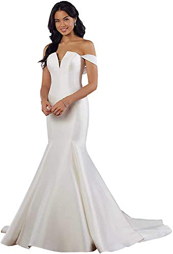 Meganbridal Sexy Off Shoulder Women's Long Train Mermaid Wedding Dress with Satin Bridal Gown for Bride