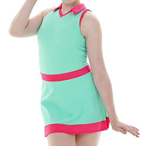 Vestido de patinaje artstico para mujer con diamantes de imitacin, verde, XL