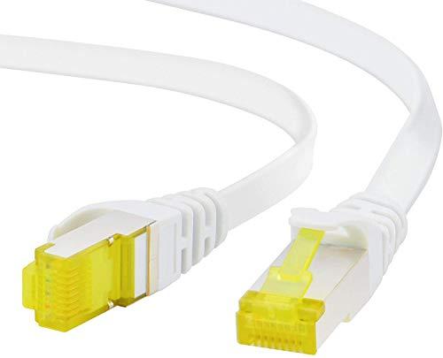 ADWITS 1m Cavo di Rete Cat 7 Piatto | Cavo a schermatura U FTP PIMF con connettori RJ45 | 10000 Mbit s | 10 Gigabit, 600MHz | Interruttore Punto di Accesso Modem Router - Bianco