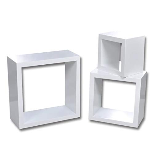 vidaXL Estantes Forma de Cubo Diferentes MDF Blanco 3 Piezas Estantería Pared