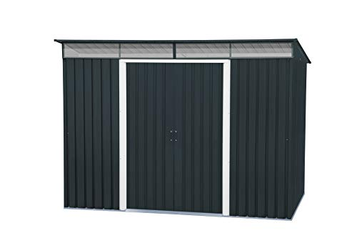 Duramax Pent Roof Skylight 8' x 6' Metal Outdoor Garden Shed, Made of Hot-Dipped Galvanized, Strong Roof Structure, Maintenance-Free, Weatherproof & Lockable Metal Garden Storage Shed, Anthracite