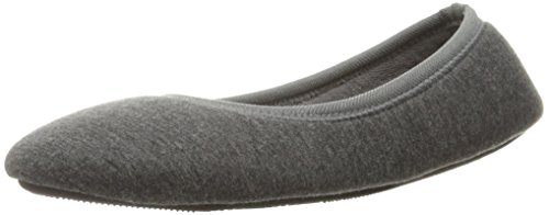 isotoner Women's Heathered Jersey Knit Jillian Ballerina Slipper with All Around Memory Foam for Indoor Comfort, Dark Charcoal, Large/8-9 M US