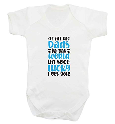 Flox Creative Baby Vest Lucky as Can be Best Daddy in The World Belongs to me T-shirt - Blanc - M