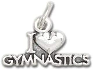 Pendant Jewelry Making Antiqued Silver I Love Gymnastics Heart Traditional Charm 1pc