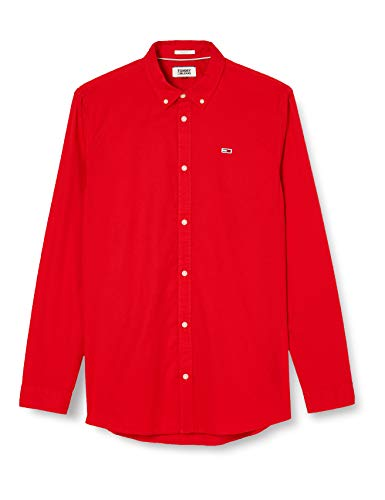 Tommy Jeans Tjm Light Twill Shirt Camicia, Rosso (Red Xa9), Large Uomo