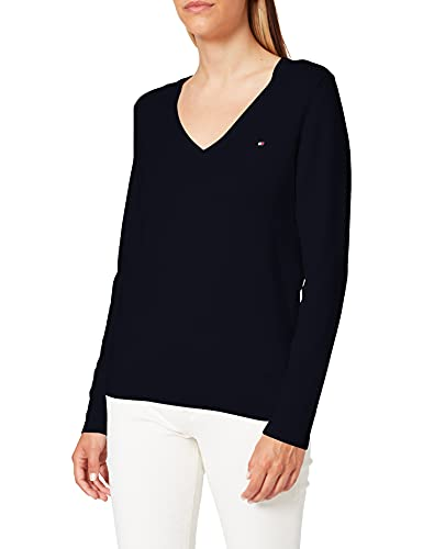 Tommy Hilfiger Heritage V-Neck Sweater suéter, Azul (Midnight 403), X-Small para Mujer
