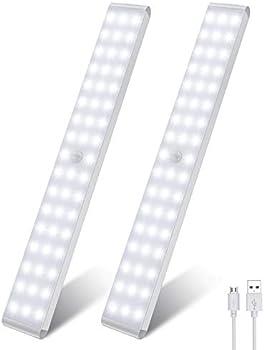 2-Pack LightBiz 50-LED Dimmer USB Rechargeable Motion Sensor Light