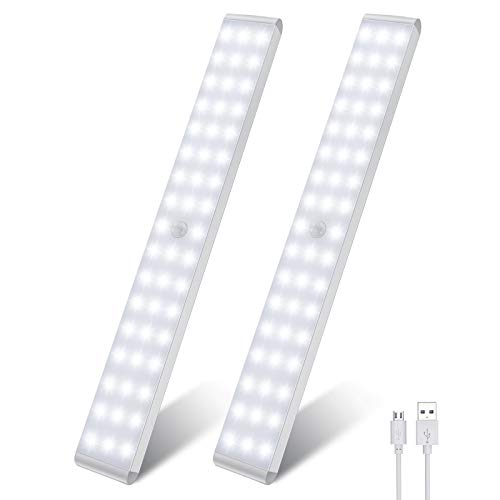 LED Motion Sensor Cupboard Lights, 50 LEDs USB Rechargeable Under Cabinet Lights with Magnetic Strip, Dimmable Night Light for Kitchen,Wardrobe,Closets,Basements,Stairwells,Indoor Garages (2 Pack)