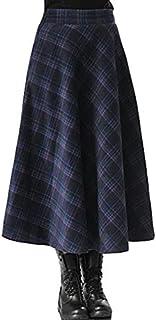 BININBOX Falda Larga de Cintura Alta para Mujer Falda Plisada de Lana a Cuadros con Bolsillos para Otoño e Invierno Elegante