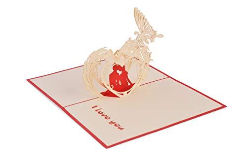 (Pack de 2) Tarjeta desplegable 3D hecha a mano, Love Heart 04 (en colección de tarjeta de cumpleaños, amor, tarjeta de agradecimiento, tarjeta de San Valentín, tarjeta de flores)