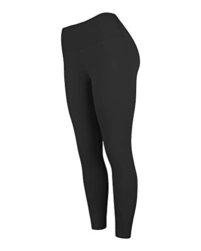 Sosolism Women High Waist Workout Pants Solid Naked Tummy Control Yoga Leggings for Doing Sport and Running Black