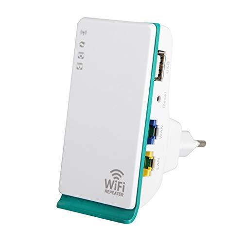 WOSOSYEYO 300Mbps 2.4GHz WiFi Repeater 2 Puertos Wireless-N Router Signal Booster Extender Mini Amplificador de Bolsillo para Viajes a casa
