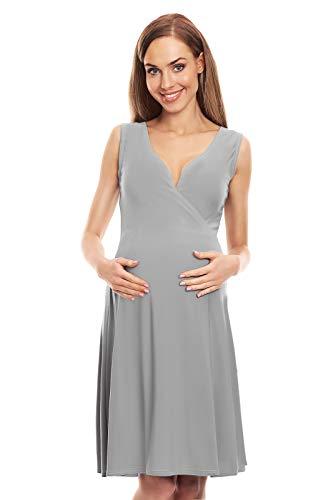 Selente Mummy Love 0144 festliches Umstandskleid (Made in EU) Schwangerschaftskleid, Wickeloptik Hellgrau, Gr. L/XL