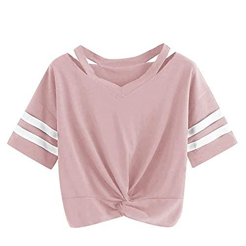 Manga Corta Mujer Moda Animada Cuello Irregular Mujer Tops Único Patrón Floral Dobladillo con Cordón Diseño Mujer T-Shirts Todos Los Días Casual Cómodo All-Match Mujer Blusa A-Pink S