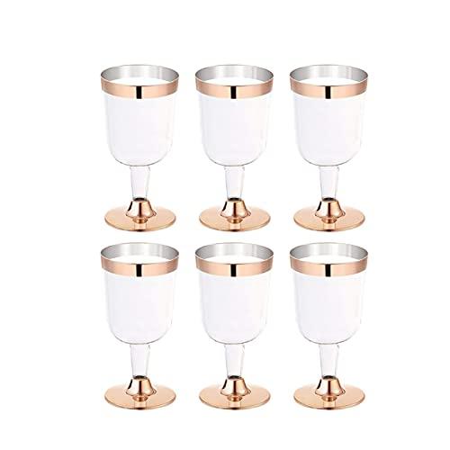 QJTZ 6pc Pink Golden Copa de Vino de Vino de plástico Copa desechable Durable Festival de Boda Copa de plástico Copa de Vino 12.1 0528 (Color : PK)