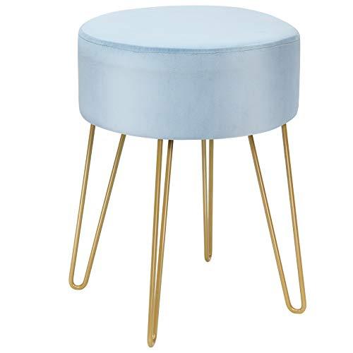 COSTWAY Samthocker mit Metallbeinen, moderner runder Schminkhocker, Polsterhocker bis 100kg belastbar, Fußhocker, Sitzhocker geeignet für Schlafzimmer und Wohnzimmer (Blau)