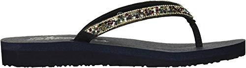 Skechers Women's Tahiti Sole Rhinestone Beaded Flip Flop Sandal Navy Size EU 38