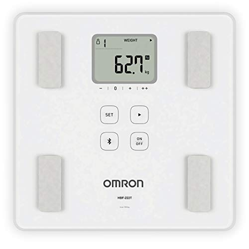 Omron HBF 222T Complete Digital Body Composition Monitor With Bluetooth for Omron Connect App Experience, Displays BMI, Body Fat, Skeletal Muscle and Visceral Fat Level