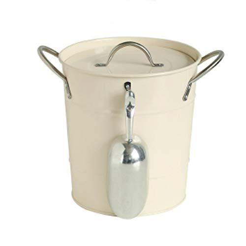 WL Doppelwandiger Eiseimer mit Deckel, Metallbehälter mit Griff und Zange, ideal für die Aufbewahrung von Eiswürfeln. 19.5x20cm(8x8inch) a