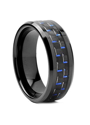 Ultimate Metals Anello di fidanzamento in tungsteno da uomo - fede nuziale in tungsteno con Fibra di Carbonio Nero e Blu