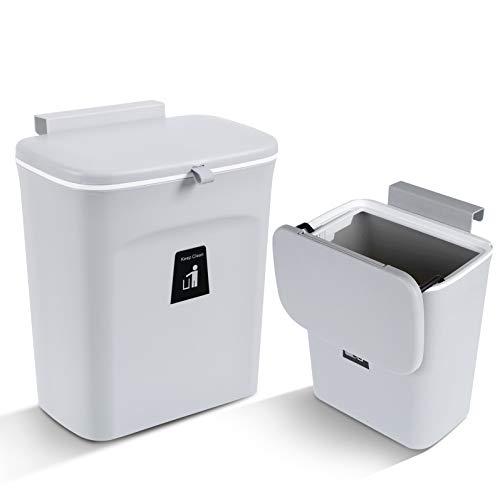 Aogist 2 er Set Mülleimer Küchen-Abfalleimer aufhängbaren Küchenmülleimer mit Deckel Abfallbehälter Mülleimer für die Tür unter der Spüle Mülleimer Mülltrennung 9L (Grau)