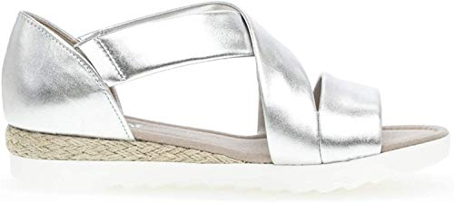 Gabor 22.711 Damen Sandalen,Riemchensandale, Frauen,Sandalette,Sommerschuh,flach,Comfort-Mehrweite,Silber (Jute),5 UK