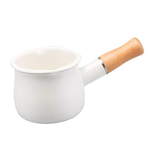 F Fityle Enamel Milk Pan, Mini Butter Warmer 10cm Saucepan Pan Cookware with Wooden Handle, Coffee Warmer, Chocolate Melting Pot - White, 10cm