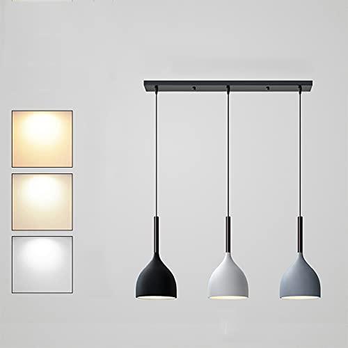 Lámpara Colgante Regulable 3 llamas Lámpara de Mesa de Comedor Luz Colgante de Cocina Negro-Blanco-Gris Regulable en Altura 6W × 3 Colgante con Enchufe E27 para Cocina Restaurante (Sin Lámpara LED)
