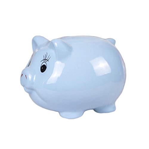 Aveo Hucha El Ahorro de Dinero Caso Hucha Decoración Juguetes for niños Cajas de Dinero del Cerdo Forma de Dibujos Animados Monedas cumpleaños Regalo de Almacenamiento alcancía (Color : Blue)