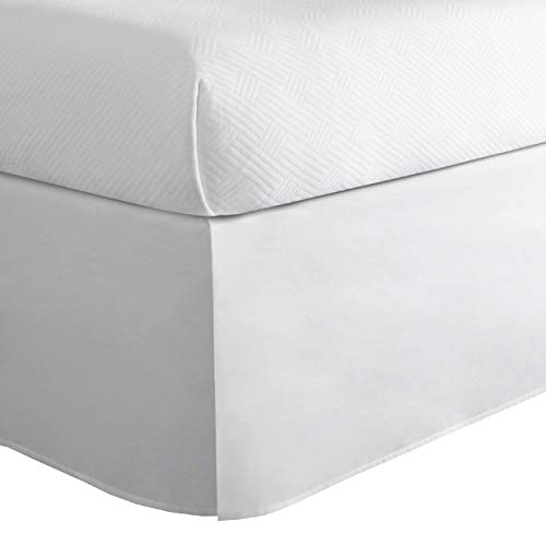 Today's Home Classic Tailored Bed Skirt Dust Ruffle, Cotton Blend Design, 14' Drop Length, Queen, White