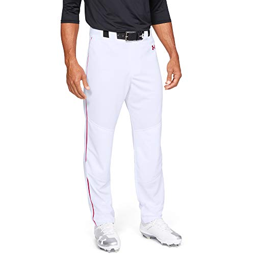 Under Armour Men's Utility Relaxed Piped Baseball Pants , White (103)/Red , Small
