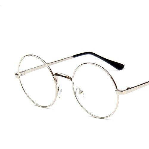 LUOEM Vintage Runde Brille Klare Linse Brille ohne Stärke Unisex (Silber)