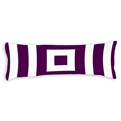 Modern Square Pattern In Plum and White Ultra Soft Microfiber Long Body Pillow Cover Pillowcases with Hidden Zipper Closure for Kids Adults Pregnant Women, 20' x 54'