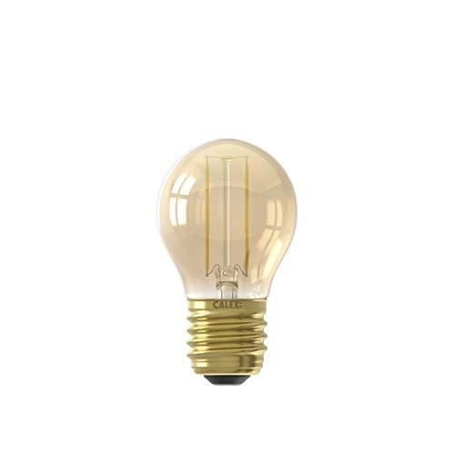 Calex Bombilla de filamento LED de 220-240 V, 2 W, 130 lúmenes, E27, P45, 2100 K, color dorado