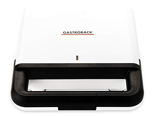 GASTROBACK #42443 Design Sandwichmaker, 750 Watt, antihaftbeschichtete Toastplatten, klein/kompakt, weiß/schwarz