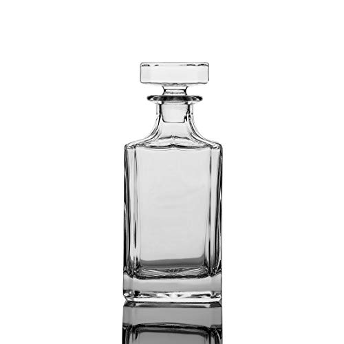 Square 26oz Crystal Whiskey Decanter with Glass Stopper—Lead Free
