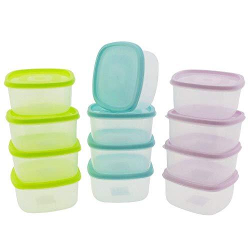 12 x Frischhaltedosen - Tiefkühldosen 375 ml (0,5 ml randvoll) zum Einfrieren - Auftauen und Erhitzen - Vorratsdosen - Gefrierdosen