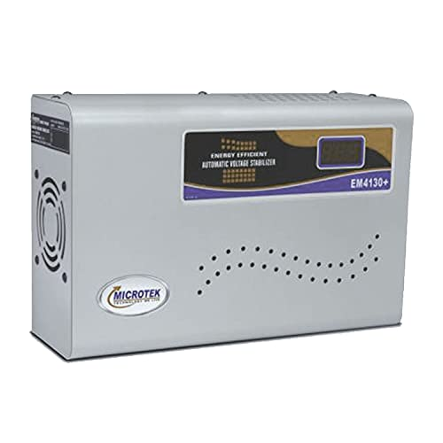 Microtek EM4130+ Automatic Voltage Stabilizer for AC up to 1.5 ton (130V-300V), Metallic Grey – Digital Display, Wall Mounted