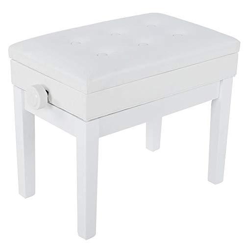 Klavierstühle, Höhenverstellbar Klavierhocker Keyboard-Bank Sitzbank Einzelstuhl Hocker mit Stauraum und PU-gepolsterte für Zuhause, Wohnzimmer, Schlafzimmer, 56 x 34 x 45 cm (weiß)
