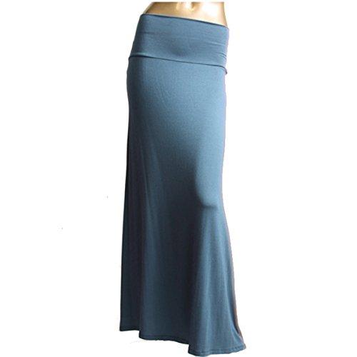 Azules Women's Rayon Span Maxi Skirt, Indigo Blue, Size Large
