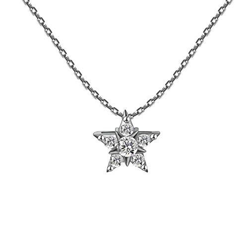 LiXiang666 Conjunto de la Cadena Collar de Estilo Corto Estrella de Plata esterlina de la Moda for Mujer Joyas de Diamantes Completo Estrella Colgante Partido Jewelr (Color : Platinum)