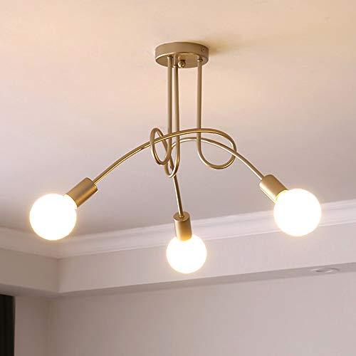 lampadario soggiorno dorato iDEGU 3 luci Lampadario industriale Retrò in Metallo Plafoniera E27 Lampada a Sospensione per Soggiorno